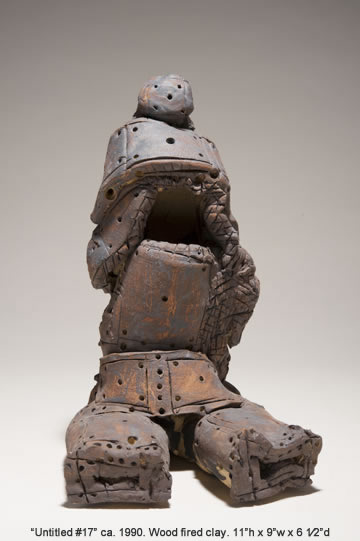 "Lee Mullican, Untitled #17, wood fired clay, 11""h x 9""w x 6½""d, ca. 1990."