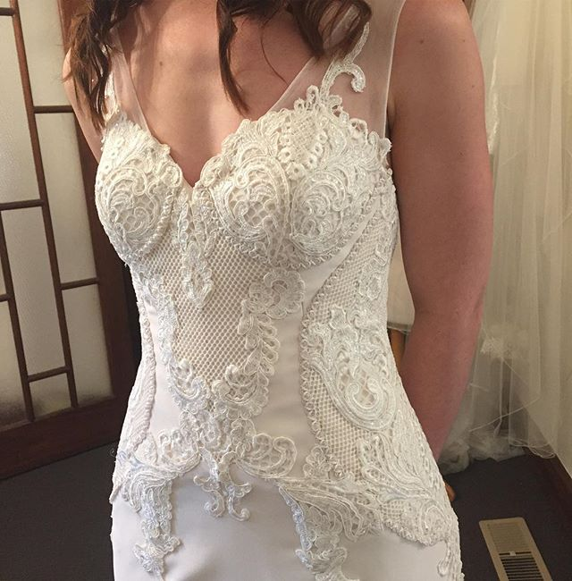 Up-close details at final fitting... it's nearly wedding time!  #realbride #bride #bridalcouture #lace #weddinginspiration #lovelovelove #nearlythere #couturemelbourne