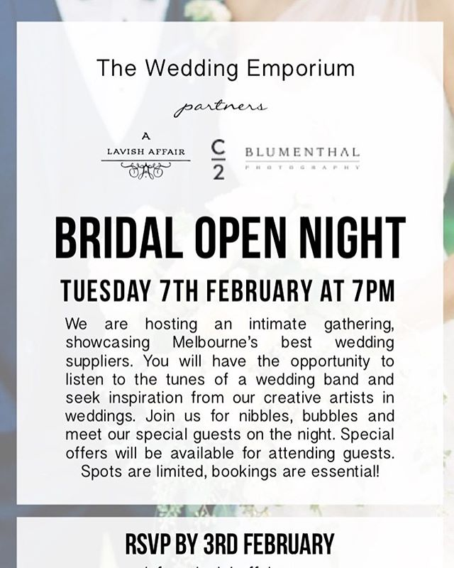Put this event into your diary right now - it's only one week away !! Best night ever for all the bride-to-be's out there ✨ #weddingsuppliers #bridalsuppliers #weddingplanner #bride #bridetobe #weddingemporium
