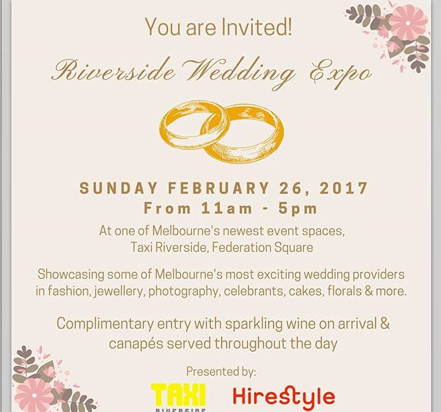This is an event not to be missed by all brides!  Come and visit us and all the other wedding suppliers at @taxi_riverside expo  #weddingsuppliers #bridalsuppliers #wedding #weddingevent #weddingexpo #melbournebride #melbournestyle #melbourne #expo #riverside