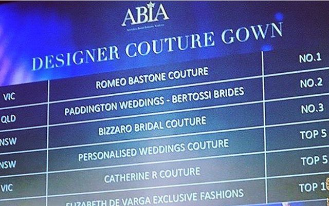 How special to see our name up in lights ! Made it into the top 5 designers for couture gowns at the Australian Bridal Industry Awards - nice !! ✨
