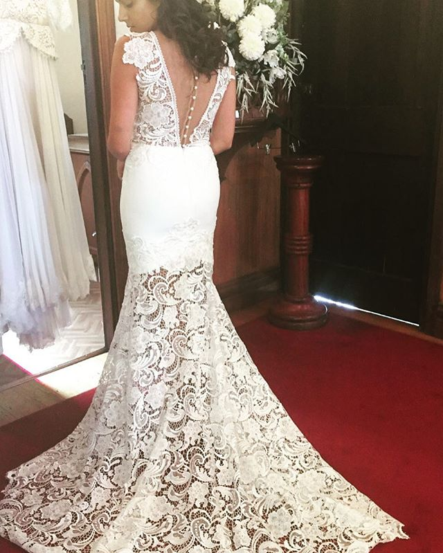Fitting time for shoot with our Angel gown on location at Inglewood Estate with @emmawisephotography  #bridetobe #beautifulbride #lacegown #bride #lace #lace #weddinggown #weddingdress #weddingphotographer