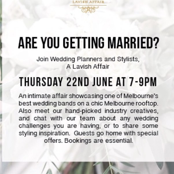 All brides out there make plans to get to this event! You will love it and it will help make planning your wedding a breeze.  Book your spot today!!🌟 #melbournestyle #weddingplanning #weddingplanners #realbride #weddingday #weddingdress #planningyourwedding #weddingphotographers #weddingflorist #weddingvenues