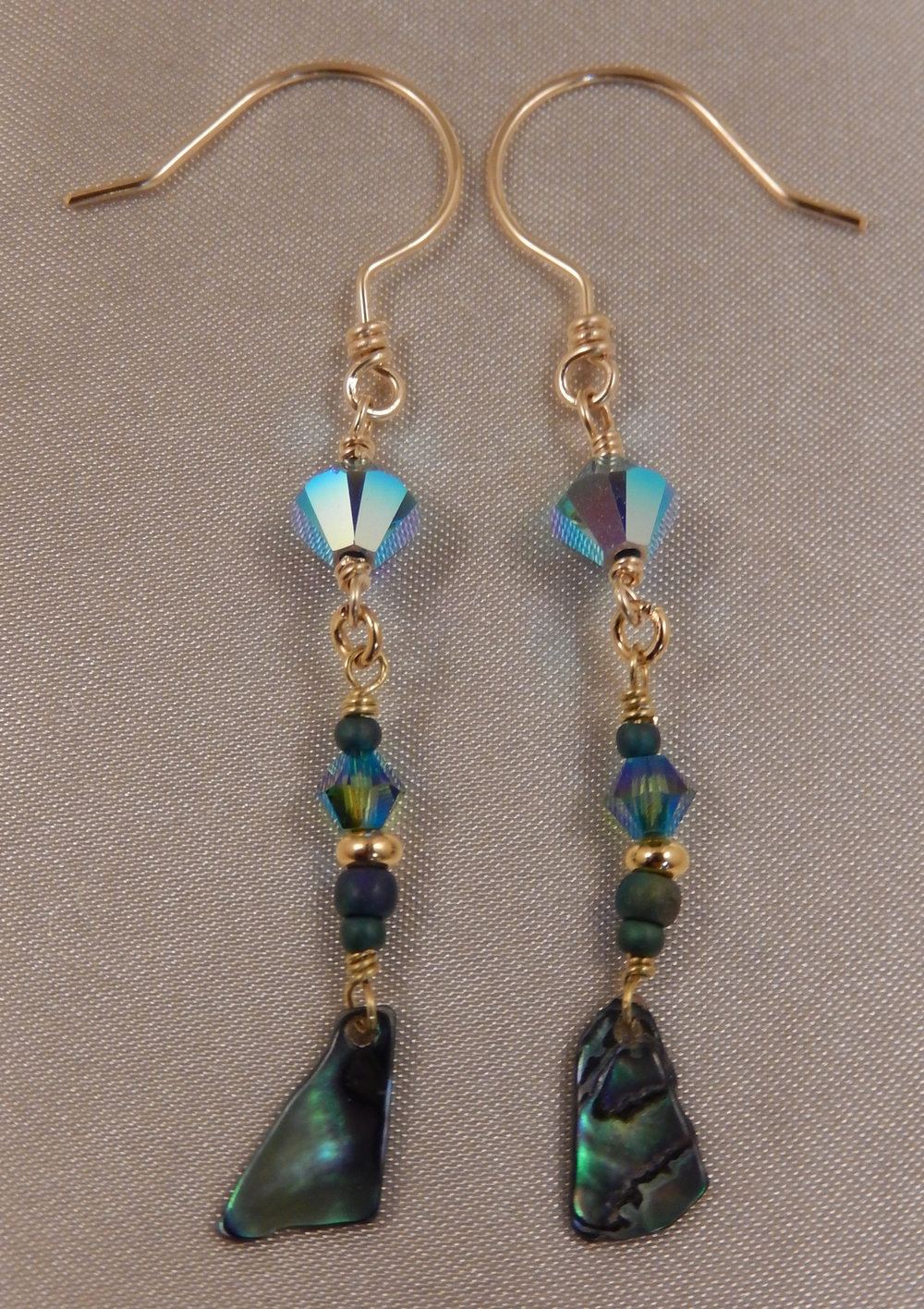 New Zealand Paua Shell and Swarovski Crystal dangle earrings with handcrafted hammered fishhook earwires