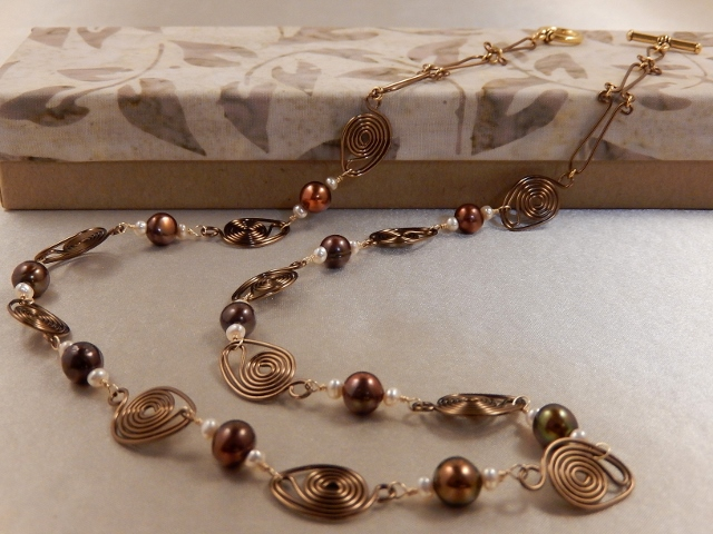 Bronze coil wrapped Freshwater Pearl Necklace.
