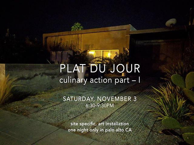 Opening tonight Plat du Jour Part I, a site specific art installation about home, food, identity. One night only in Palo Alto CA. #paloaltoart #paloalto #sitespecificart #popupgallery #popupexhibition #artgathering #socialsculpture #collaborativeart #interdisciplinary #performanceart