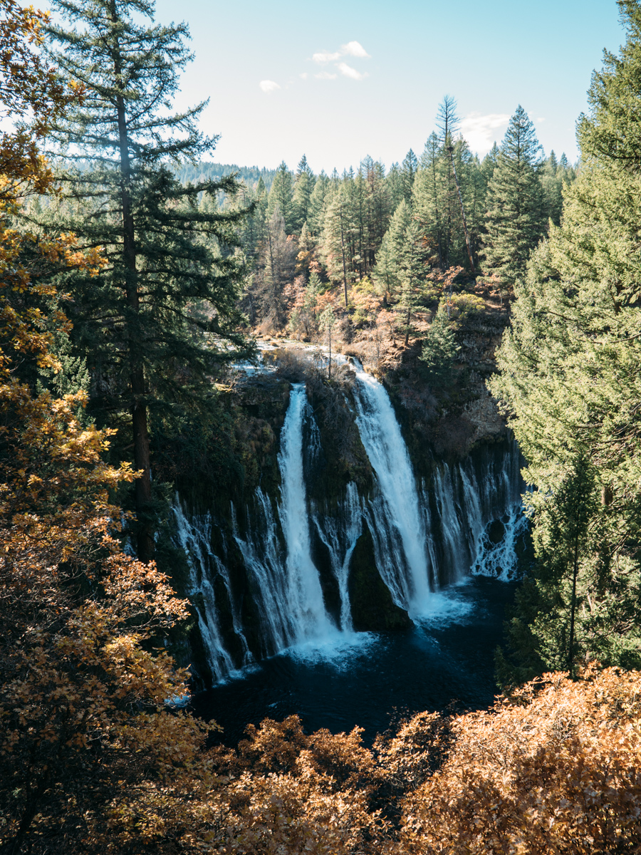 Between Lassen and Crater Lake is Burney Falls at McArthur-Burney State Park. These falls flow over and directly out of springs within the volcanic rock.