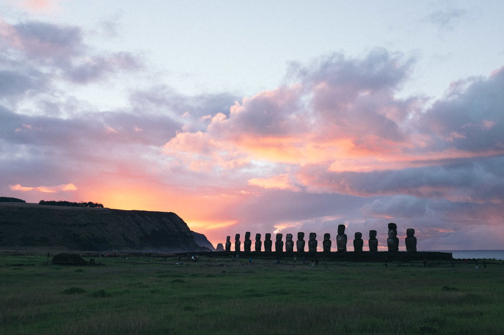 Ahu Tongariki at sunrise.