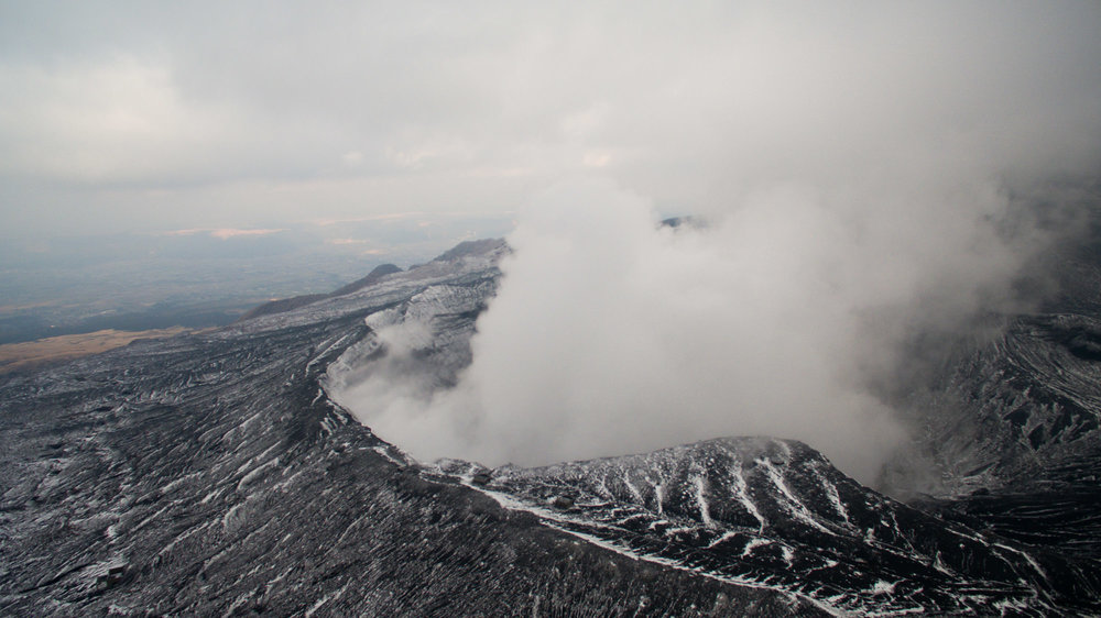Mt. Aso is currently so active that the ropeway to the top of the volcano was closed (when open you can ride the tram to the edge of the caldera and peek into the volcano).