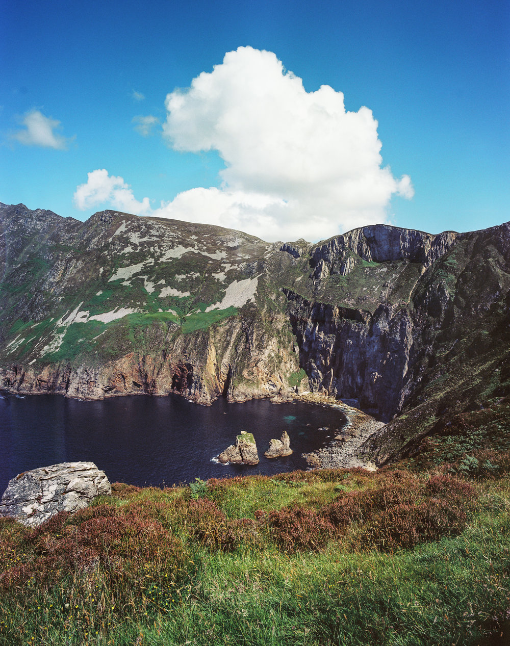 Medium format film photo.The lesser known cliffs of Ireland; Slieve League, 609m (1,998 feet) tall. The Cliffs of Moher are only 214m (702 feet) tall.