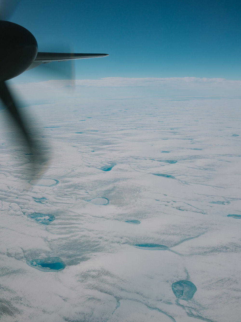 Flying over the ice sheet that covers Greenland.