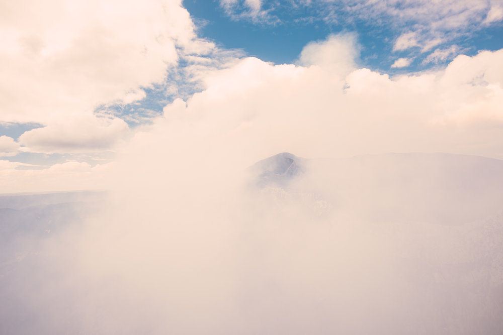 Looking across the crater, all you can see is this thick cloud of volcanic gases