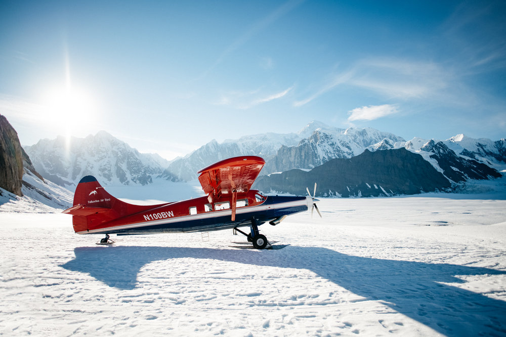 The DeHavilland Otter landed using special ski landing gear