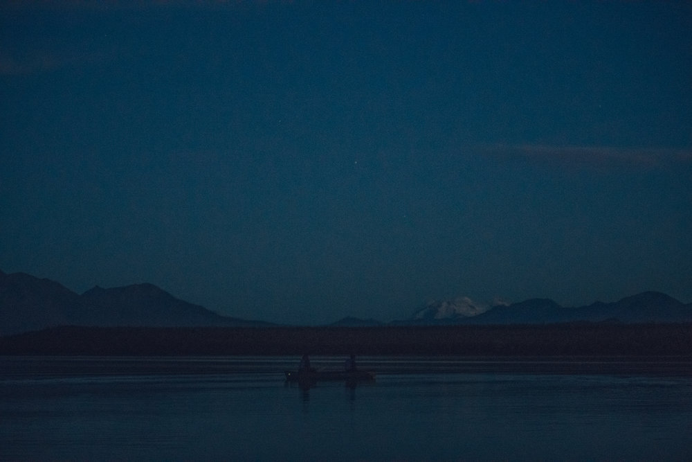 After dusk, Kitao and Paul canoeing on Naknek Lake.