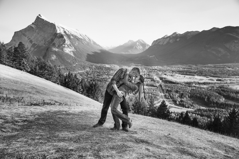 Banff Engagement Photographer. Photo overlooking Banff on the drive to Mt Norquay.
