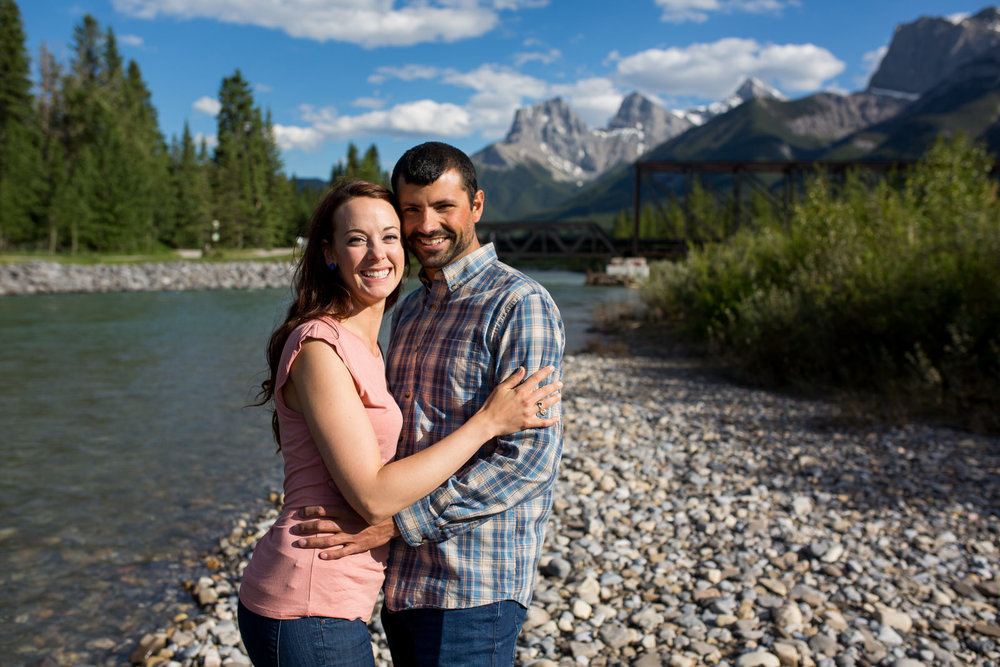 Engagement Photos on the Bow River in Canmore, AB.