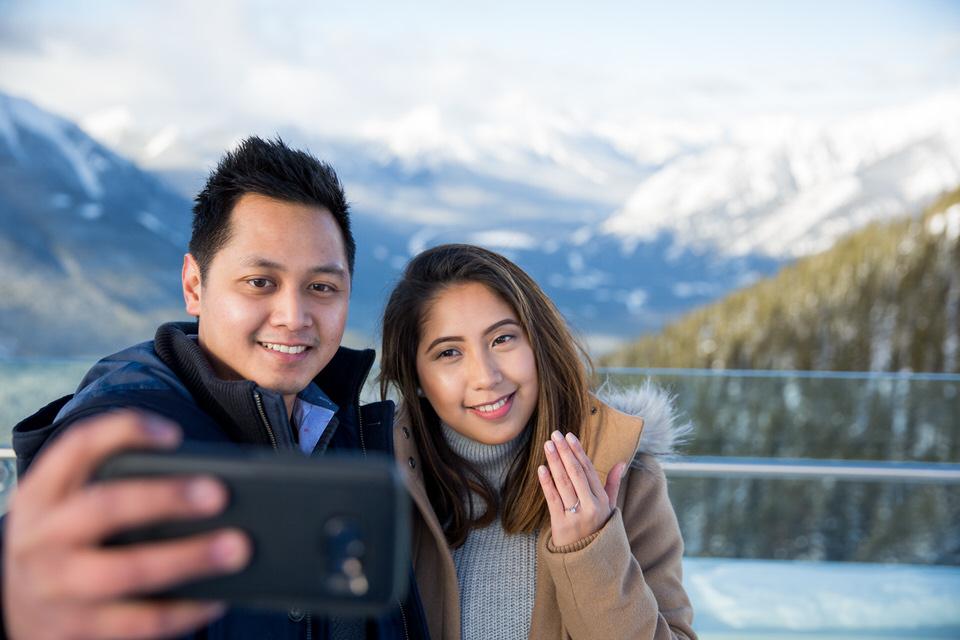 banff Engagement Photo surprise proposal