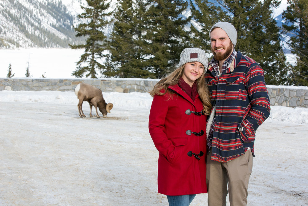 Engagement Photos at Lake MInniwanka in Banff, AB.