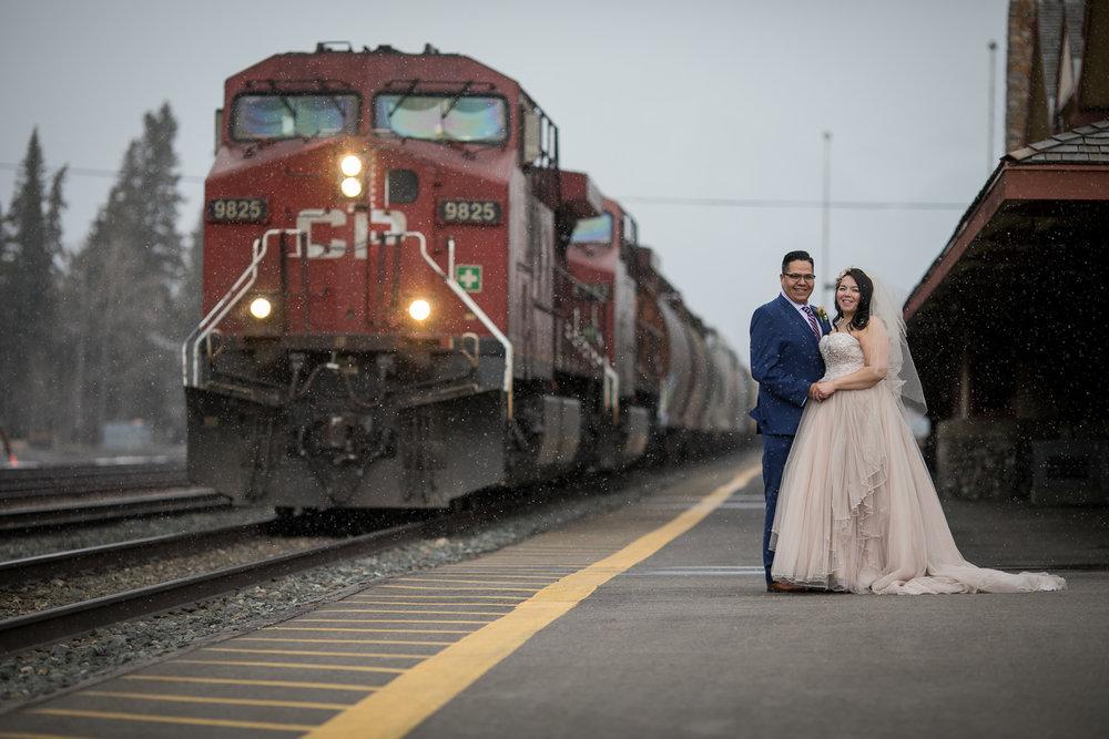 Banff Wedding Photography Train Station