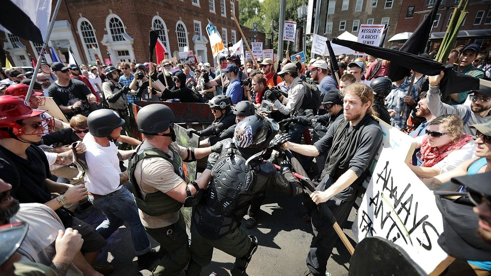 Antifa and alt-right clash in Charlottesville. Photo Credit: Chip Somodevilla/Getty Images