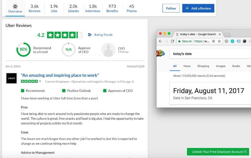 Uber's Glassdoor rating on Aug. 11, 2017