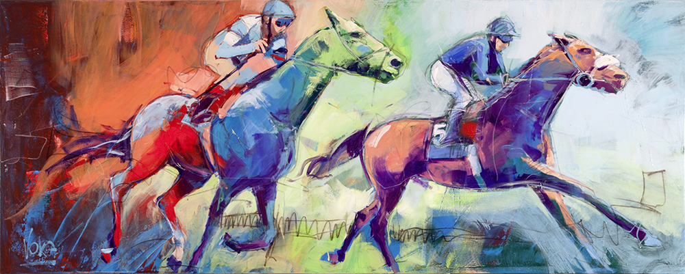 THE RACE, 80x200 cm/31,5x78,7 inch, acrylic on canvas