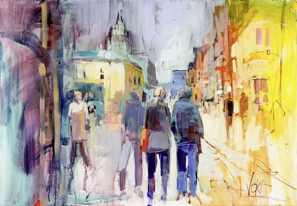 Moscow Arbat, 70X100cm / 27,6X39,4 inch, Acrylic on Canvas
