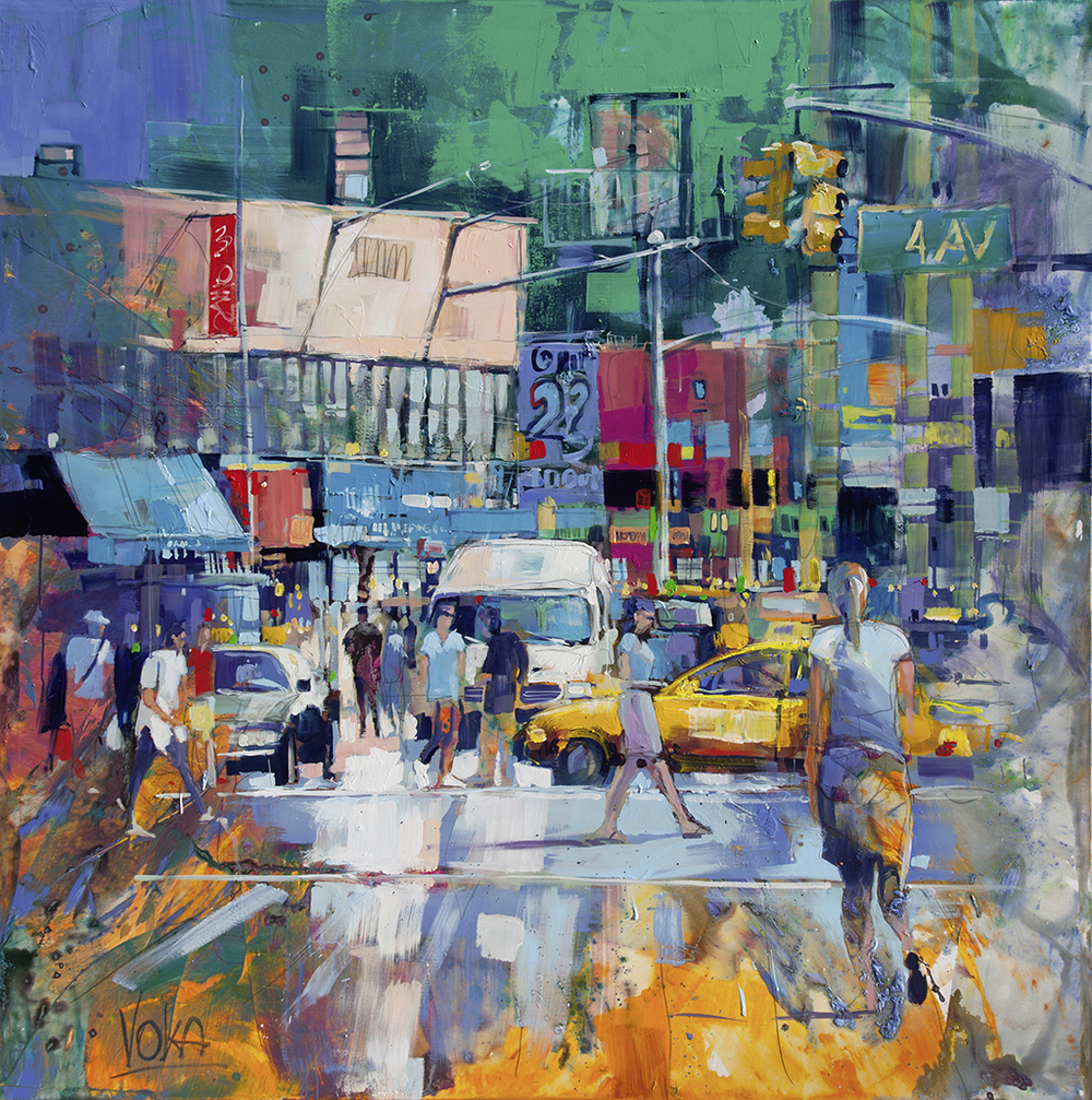 NYC- 4th Ave, 190x190cm/74,8x74,8 inch, acrylic on canvas.