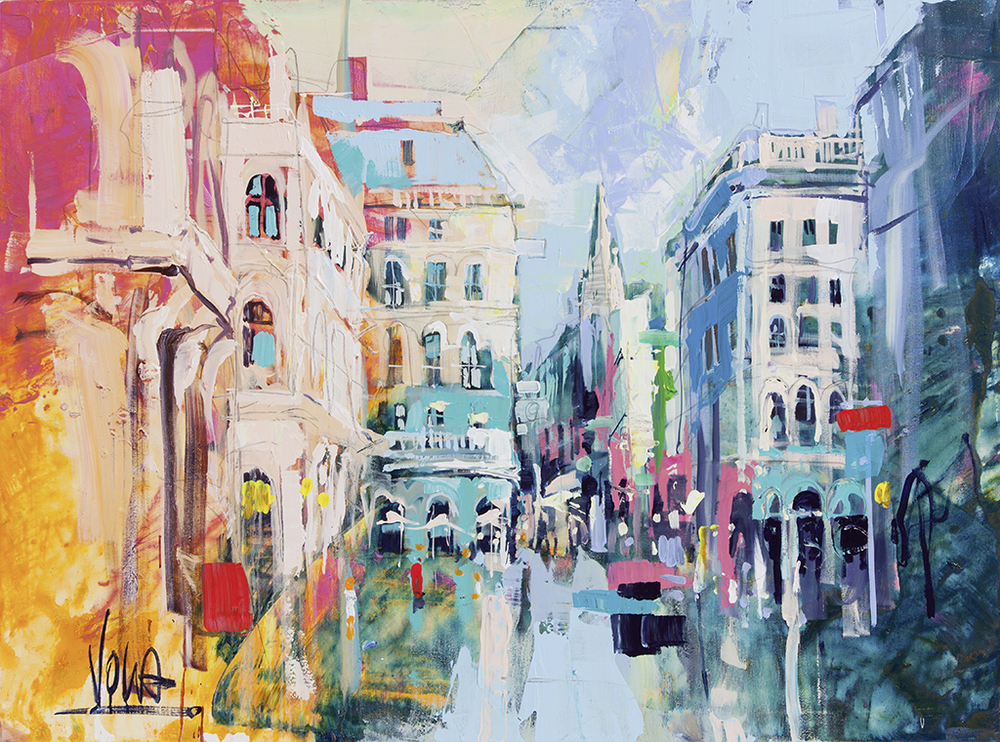 VIENNA, 90X125CM/35,4X49,2 INCH, ACRYLIC ON CANVAS