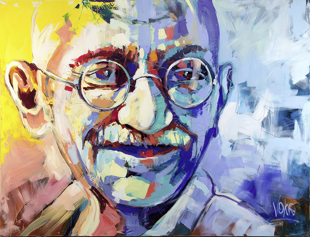Ghandi, 190x250 cm/74,8 x 98,4 inch, acrylic on canvas.