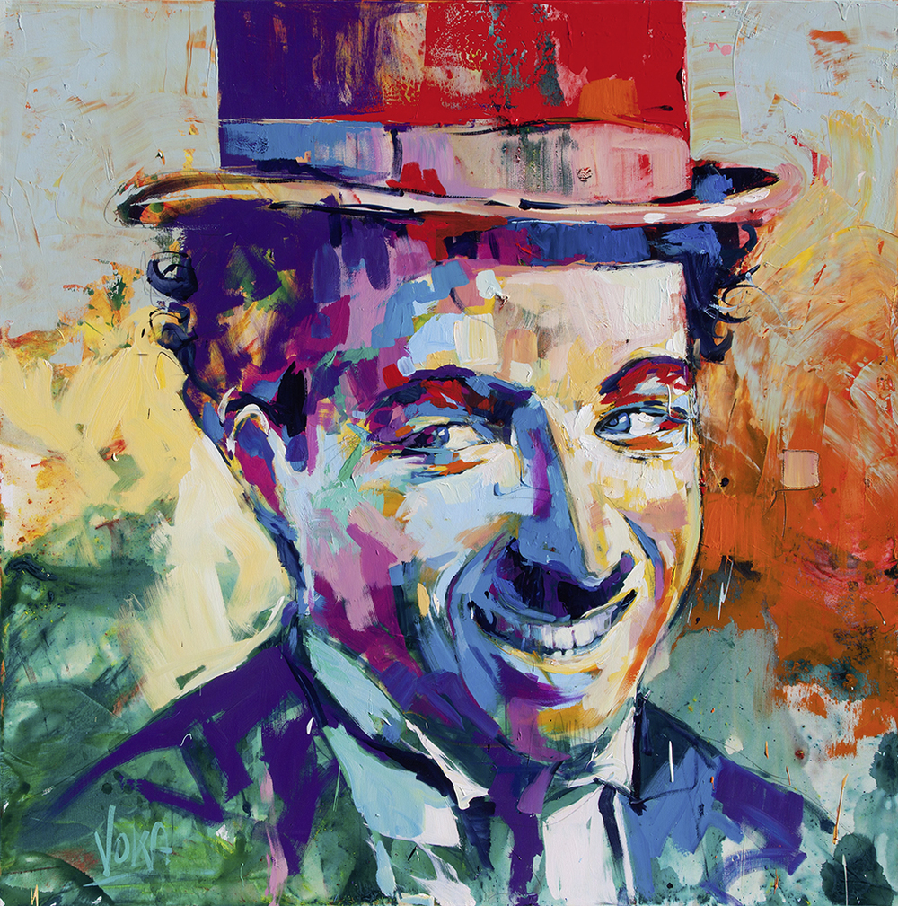 Charlie Chaplin 190x190cm/74,8x74,8 inch, acrylic on canvas.