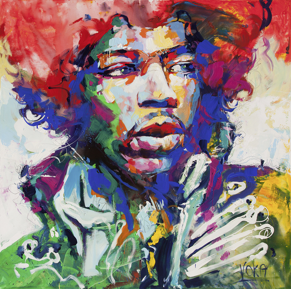 JIMI Hendrix 190x190 cm/74,8x74,8 inch, acrylic on canvas.