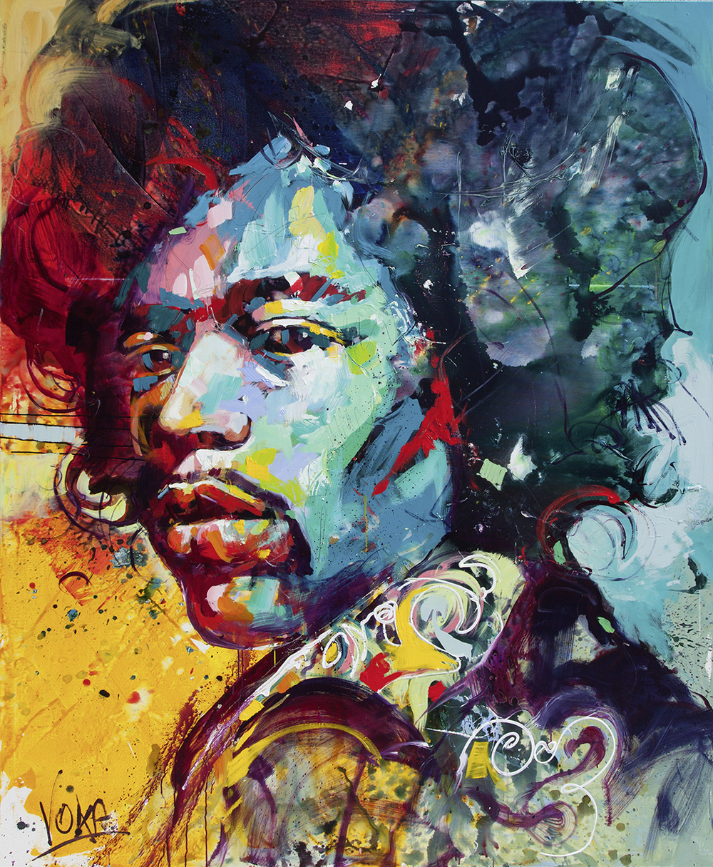 Jimi Hendrix,220x180cm/ 86,6x70,9 inch, acrylic on canvas