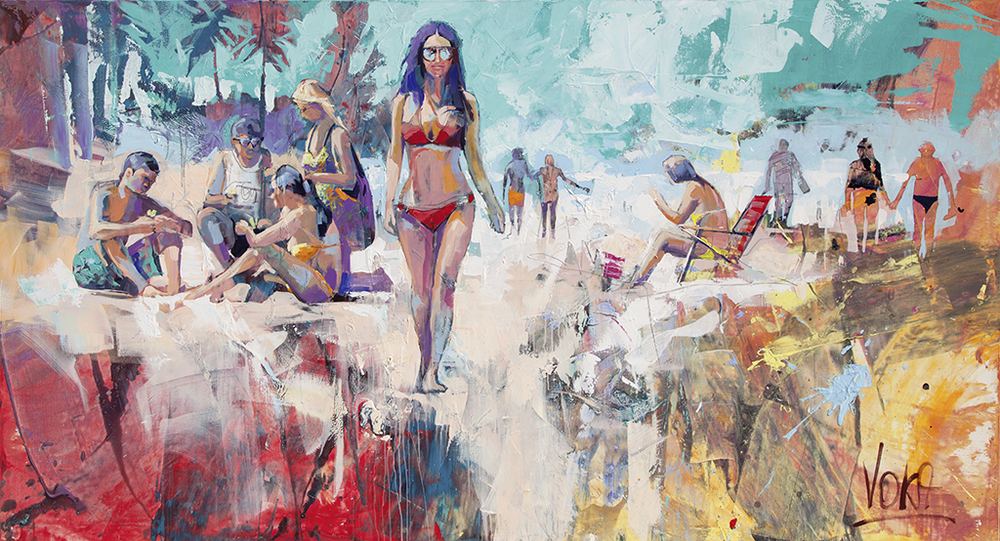 On The Beach, 140X260CM/55,1X102,4 INCH, ACRYLIC ON CANVAS