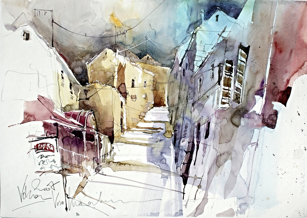 Vrsar Croatia 02, 50x70 cm/19,7 x 27,6 inch, Water Colour Painting