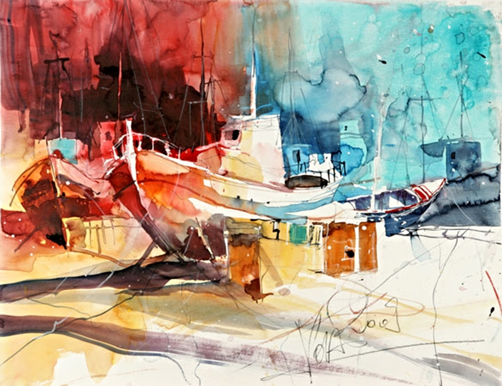 Dry Dock, 50x70 cm/19,7 x 27,6 inch, Water Colour Painting