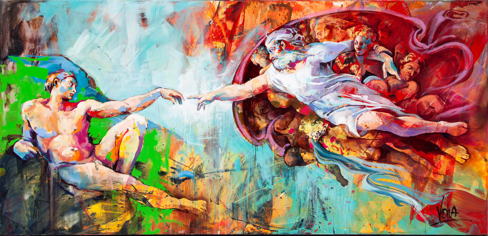 The Creation of Adam, 320X150cm / 106,2X59,1 inch, Acrylic on Canvas