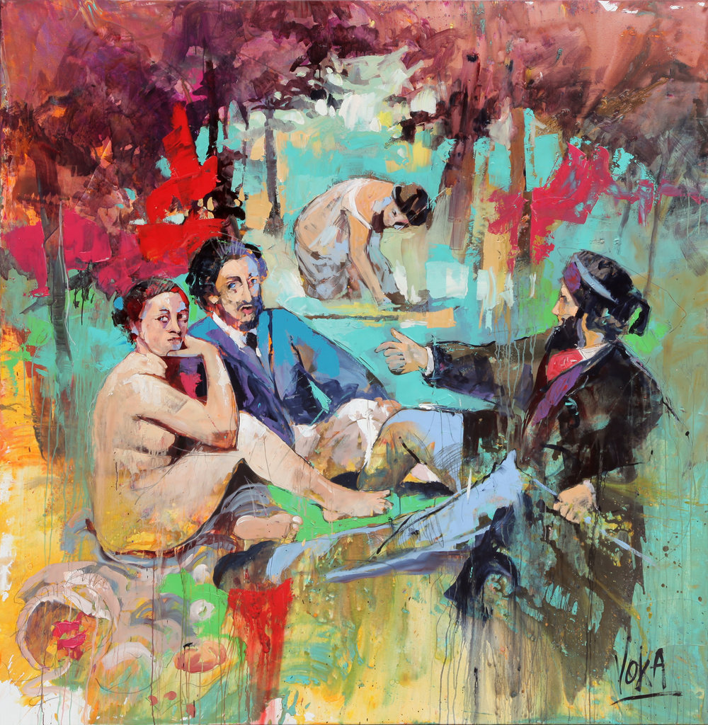 Breakfast on the grass, 190x190 cm / 74,8x74,8 inch, Acrylic on Canvas