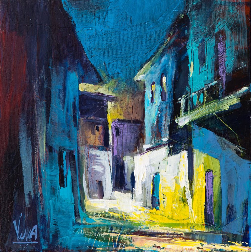 Koroni by Night, 40x40 cm/15,7x15,7 inch, Acrylic on Canvas