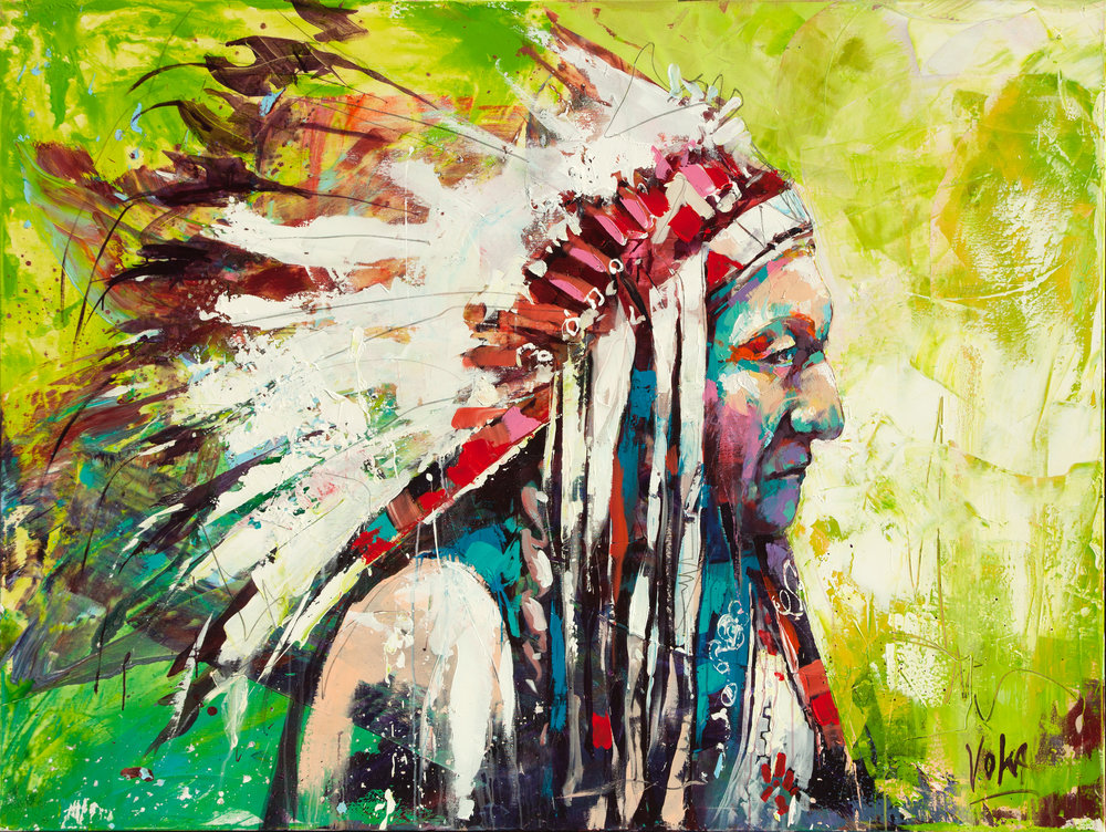Native American Chief, 150x200 cm/59,1x78,7 inch, Acrylic on Canvas