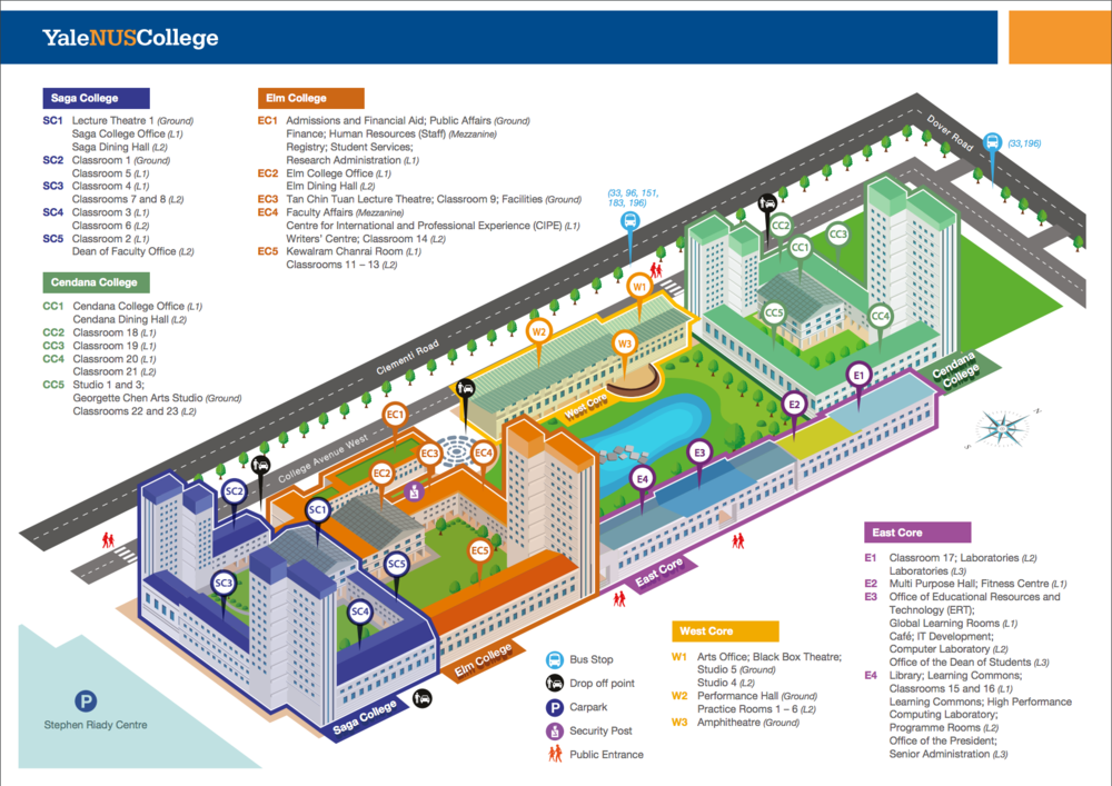 MAP OF YALE-NUS COLLEGE: The Yale-NUS College Performance Hall is located on the ground floor of the West Core (W2).