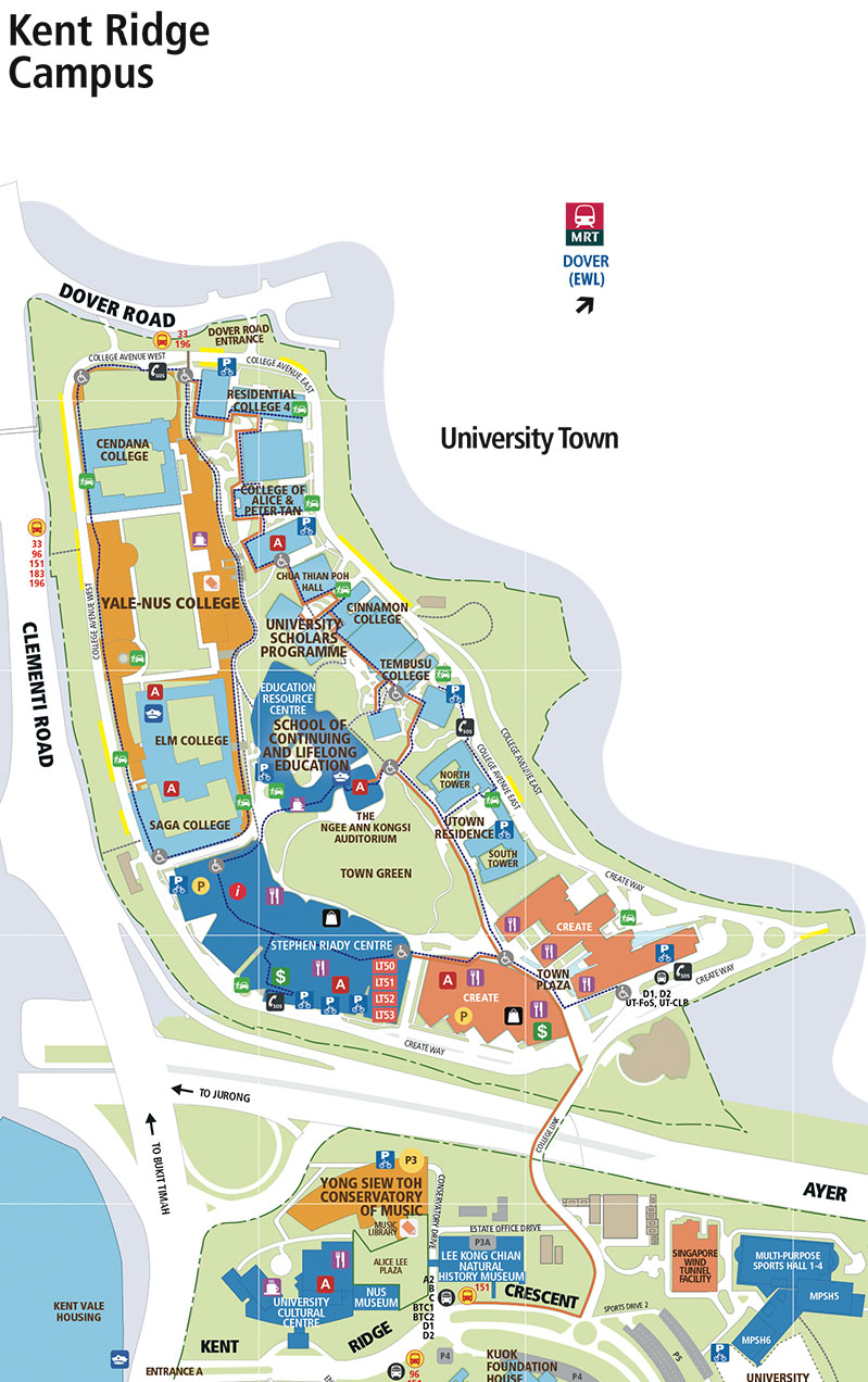 MAP OF UNIVERSITY TOWN (UTOWN): Parking is available at the carparks located beneath the Stephen Riady Centre and CREATE building, just a 5-minute walk to Yale-NUS College.