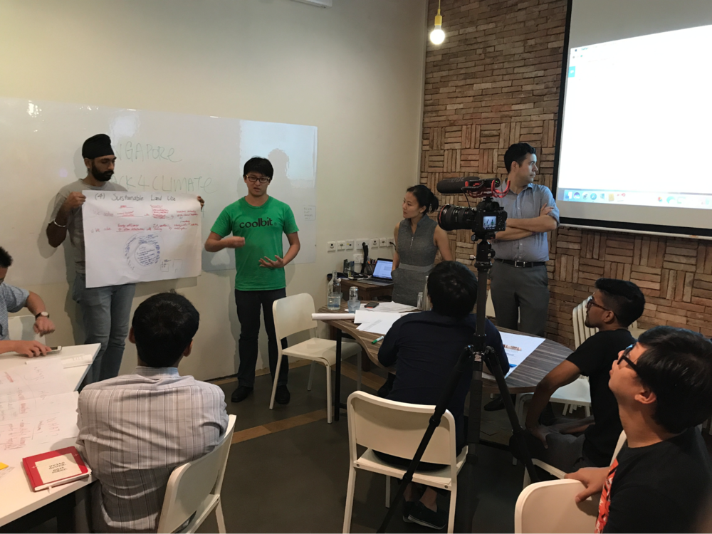 Teams share their solutions on one of five climate issues: emissions tracking; carbon pricing; distributed energy; sustainable land use; or sustainable transport.