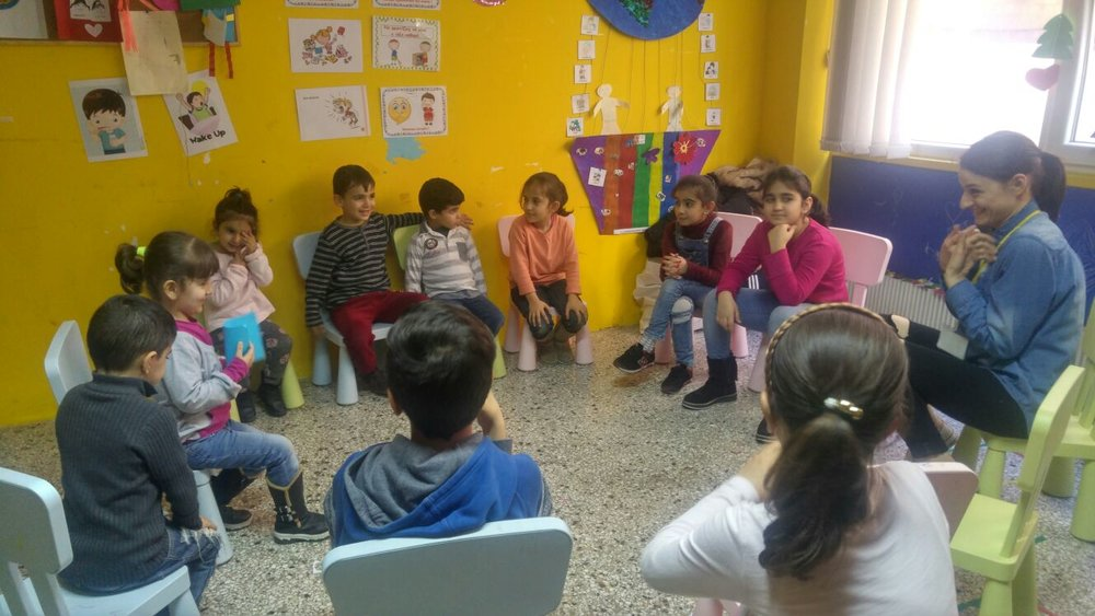An Early Childhood Care and Development session underway at a community centre in Thessaloniki