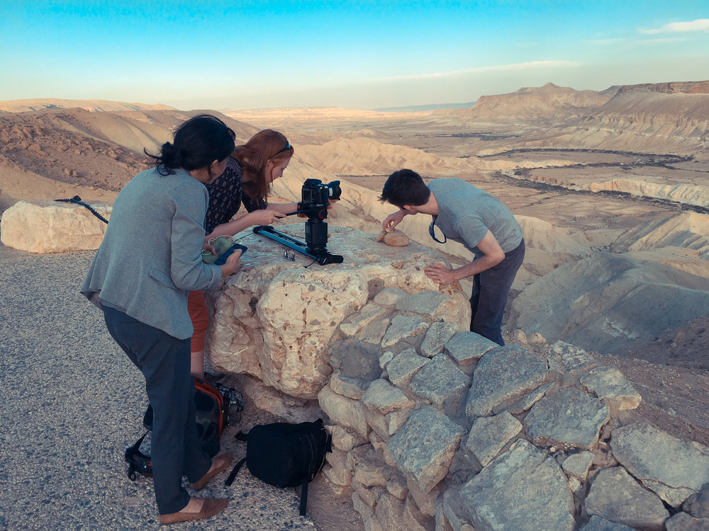 Setting up motion timelapses in the Negev Desert, Israel