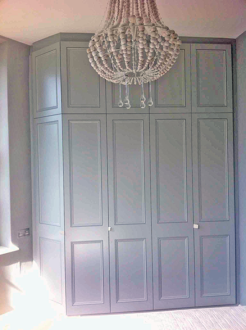 Handcrafted Georgian Style Fitted Wardrobe painted in Farrow and Ball Lamproom Grey