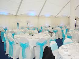 Aqua blue organza sash with lycra chair cover
