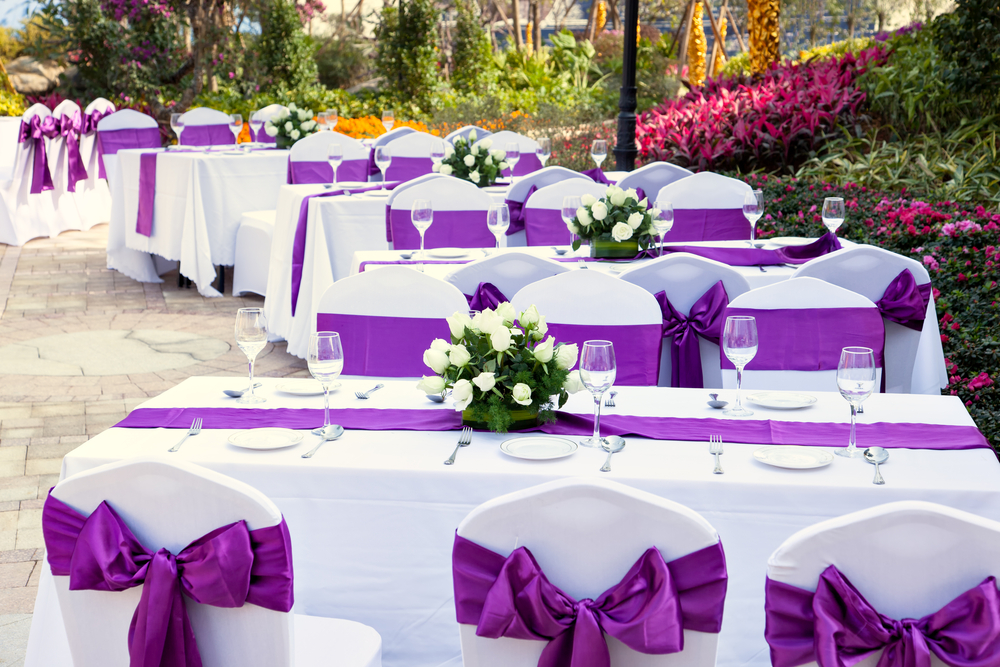 purple satin sash with matching runner and lycra chair cover