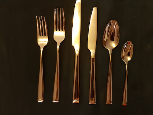 copper cutlery set for hire