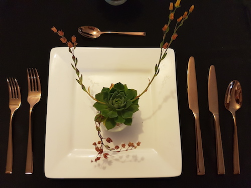 copper cutlery table setting